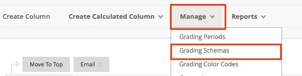 click on manage and then grading schemas